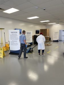 Job candidate participating in simulation activity